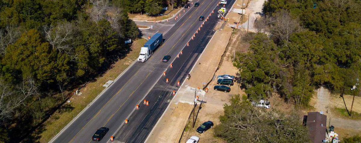 Aerial photo of Clements Ferry Road undergoing improvements in early 2019