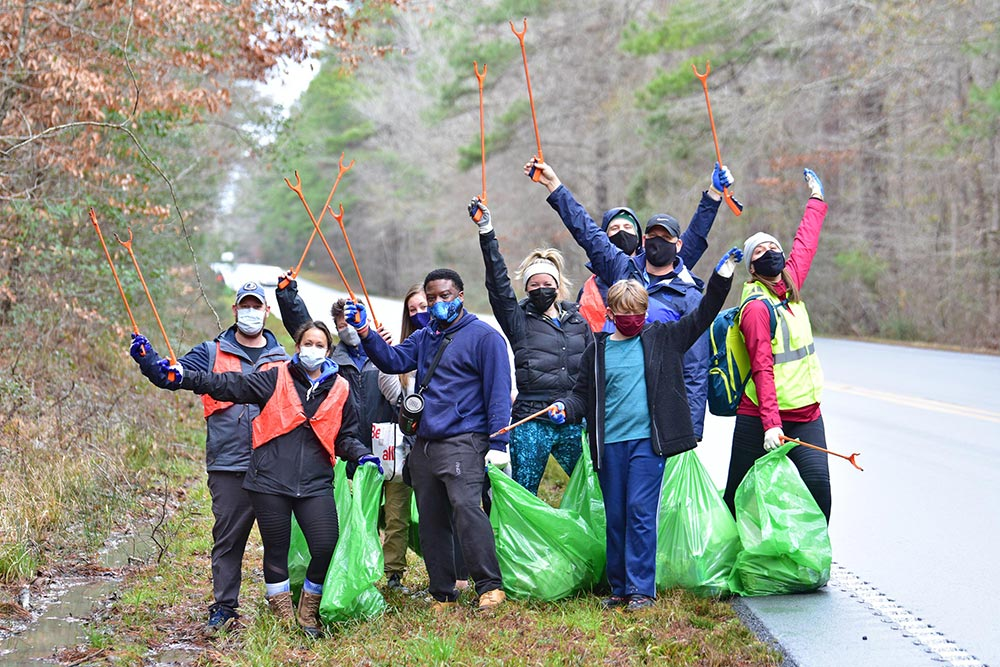 Annual Francis Marion National Forest Cleanup volunteers at a roadside